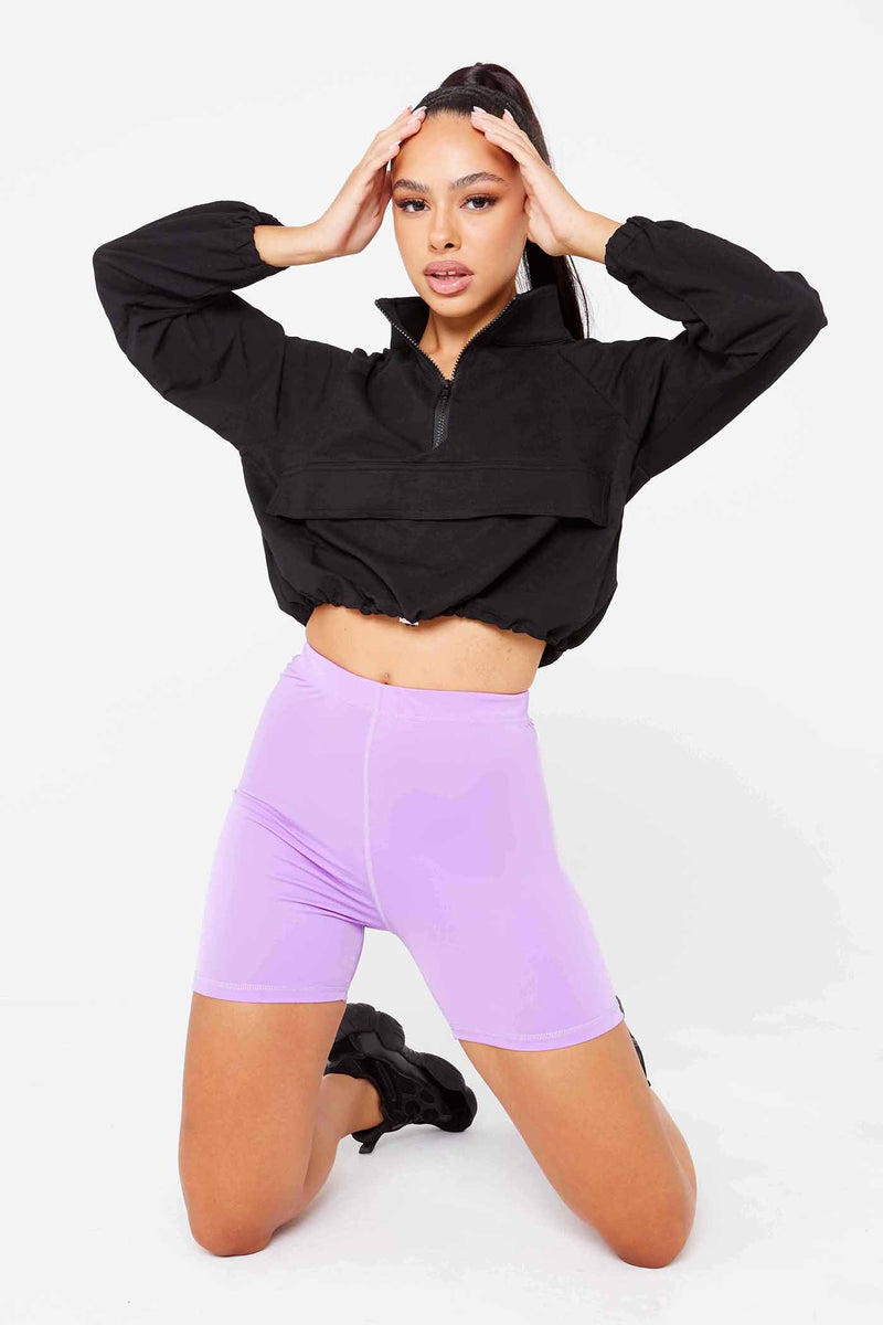 Purple Lycra High Waisted Shorts