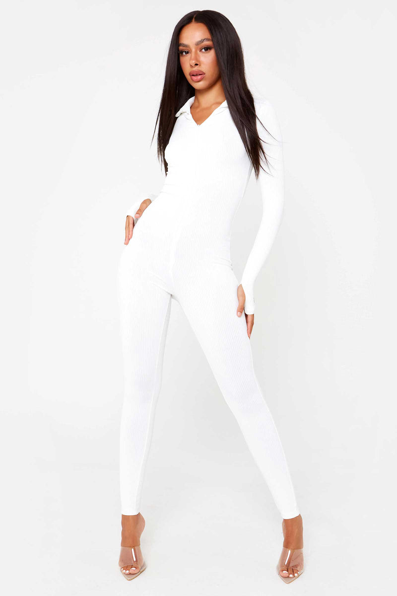 "White ""LTK"" Slogan Jumpsuit"