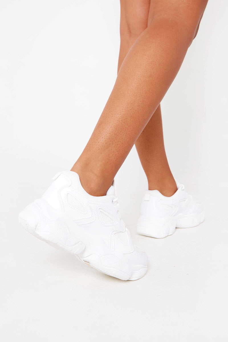 Riley Chunky Trainers in White Vegan Leather