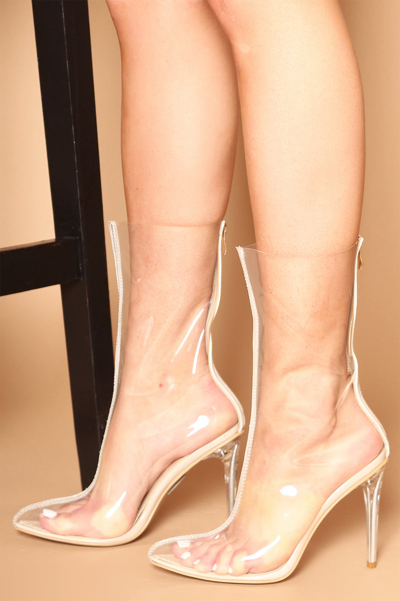 Kaitlyn Beige Heeled Ankle Boots in Clear Perspex