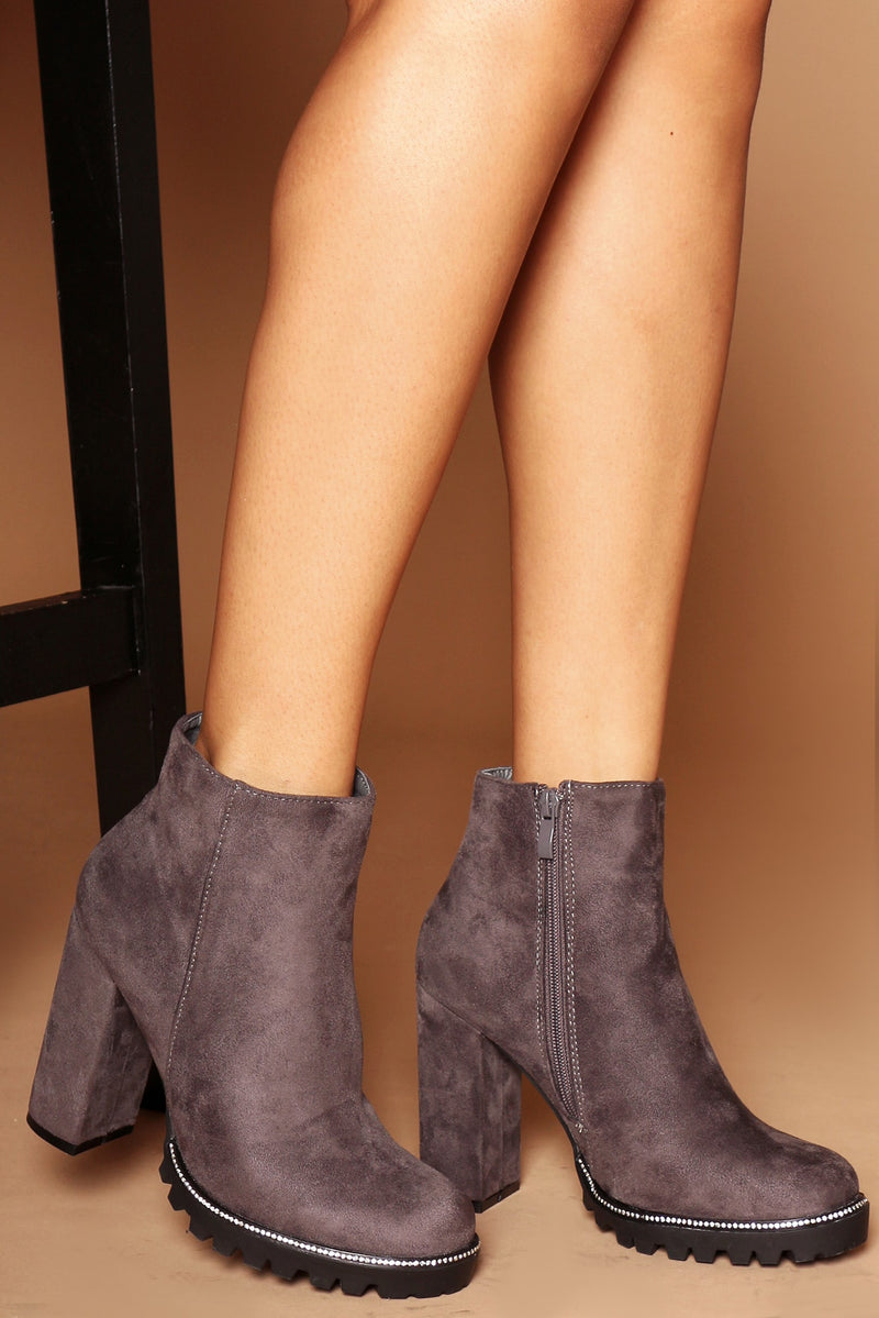 Kalia Diamante Platform Ankle Boots in Grey Vegan Suede