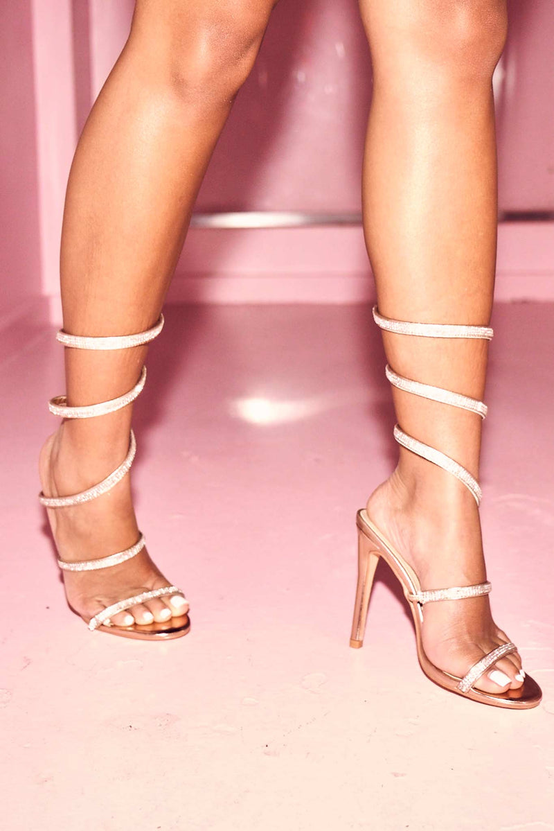 Karla Diamante Heels in Rose Gold Vegan Leather