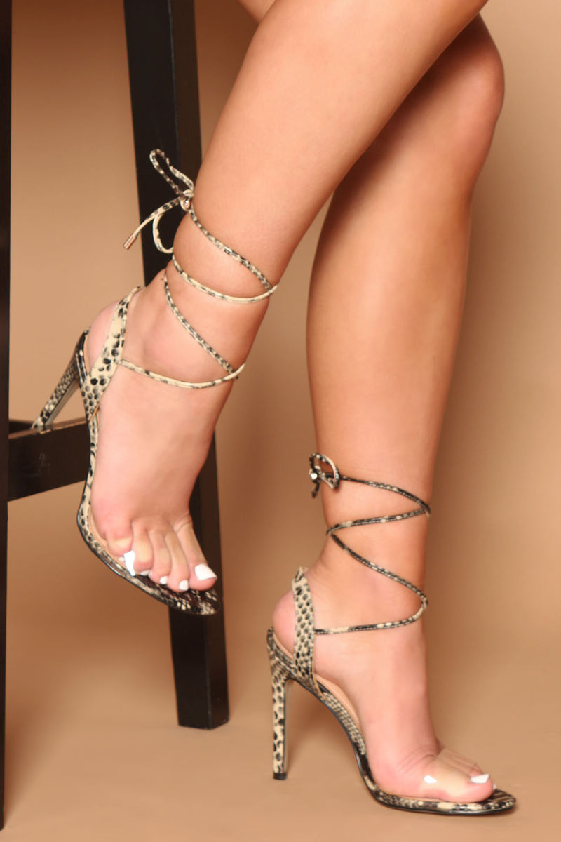 Kimberly Lace Up Perspex Strap Heels in Multi Snake Print