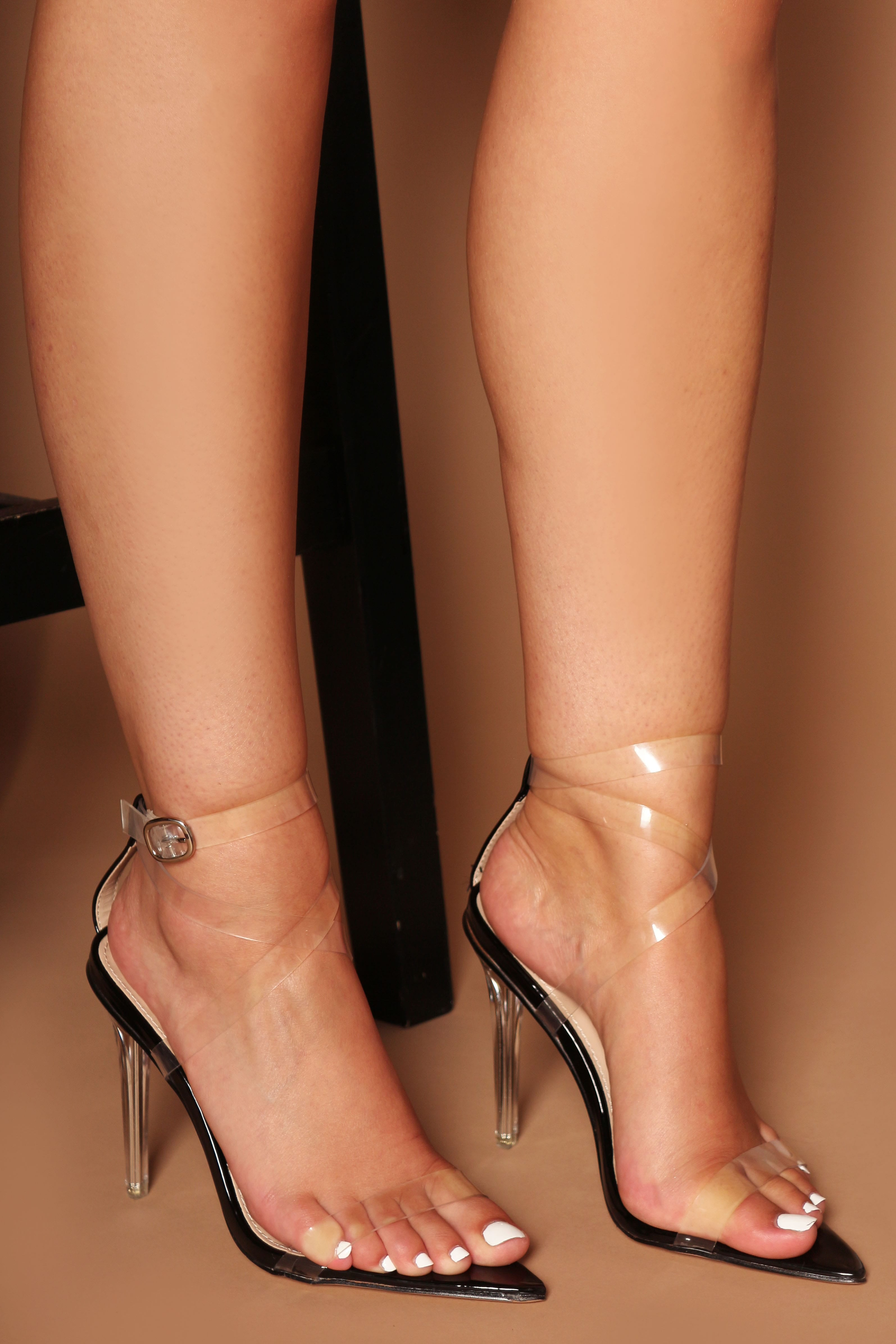Kora Pointed Clear Strappy Heels in