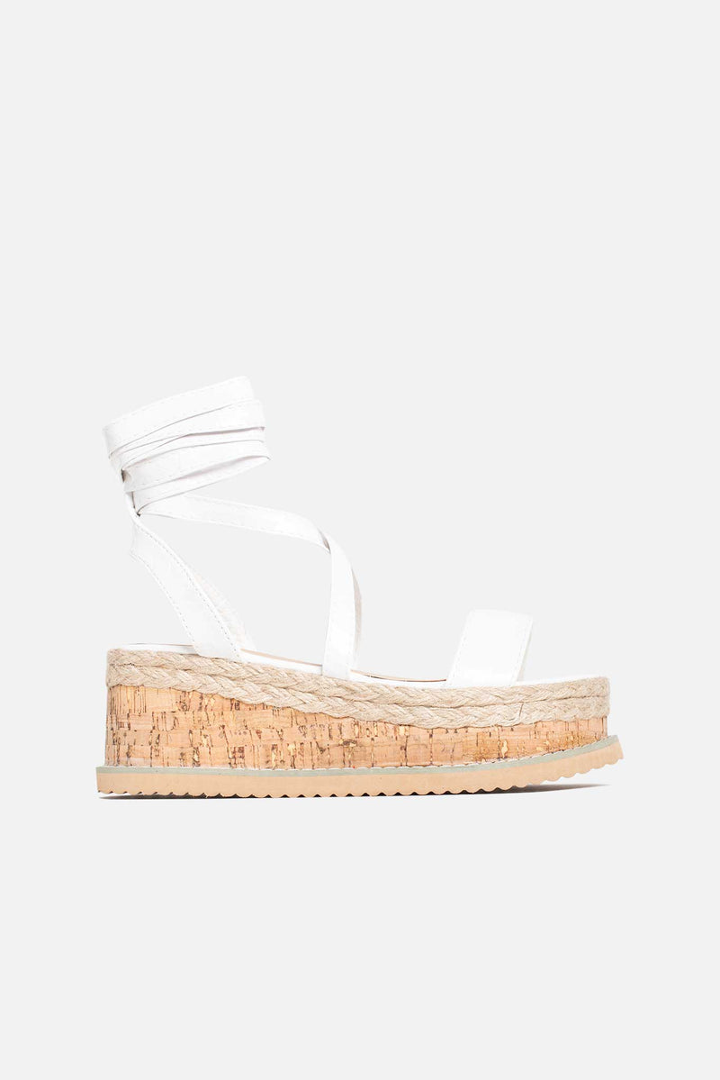 Lala Cork Flatform Sandals in White Vegan Leather