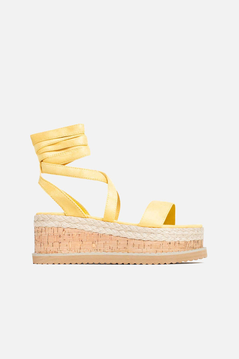 Lala Cork Flatform Sandals in Yellow Vegan Suede