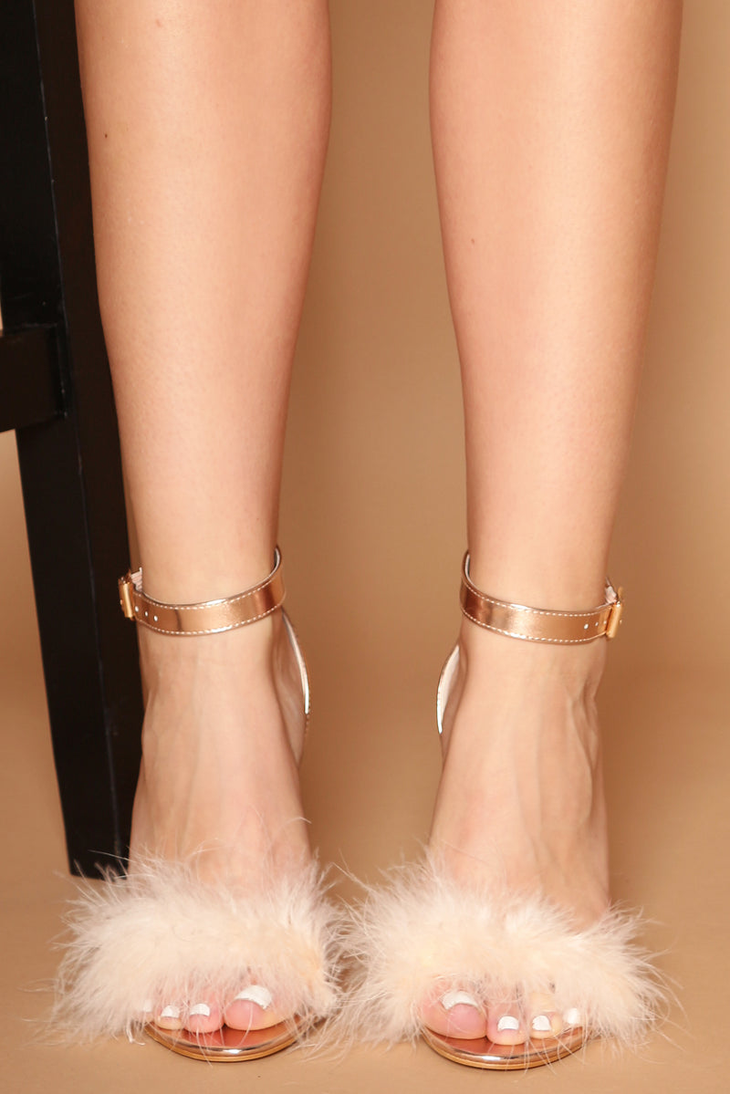 Lavinia Fluffy Heels in Rose Gold Vegan Leather