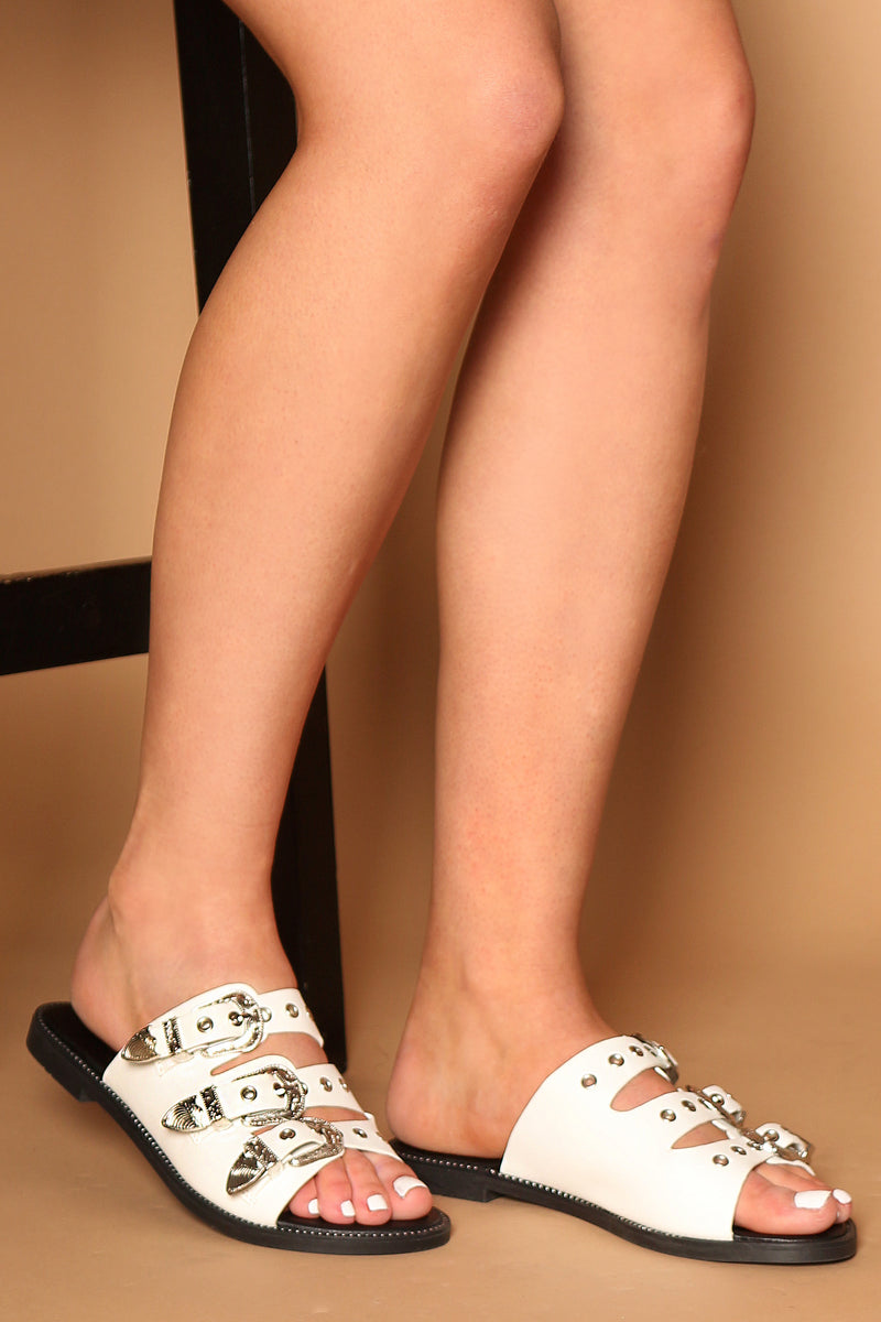 Leigh Buckle Strap Sliders In White Vegan Leather