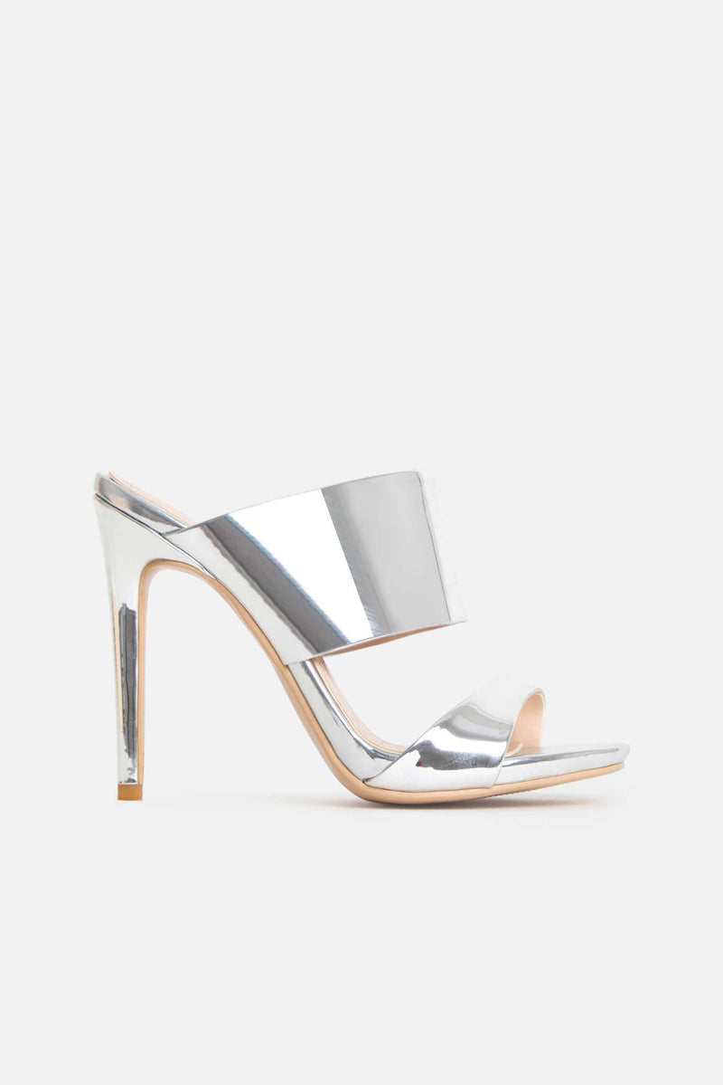 Lola Strappy Mules in Silver Vegan Leather