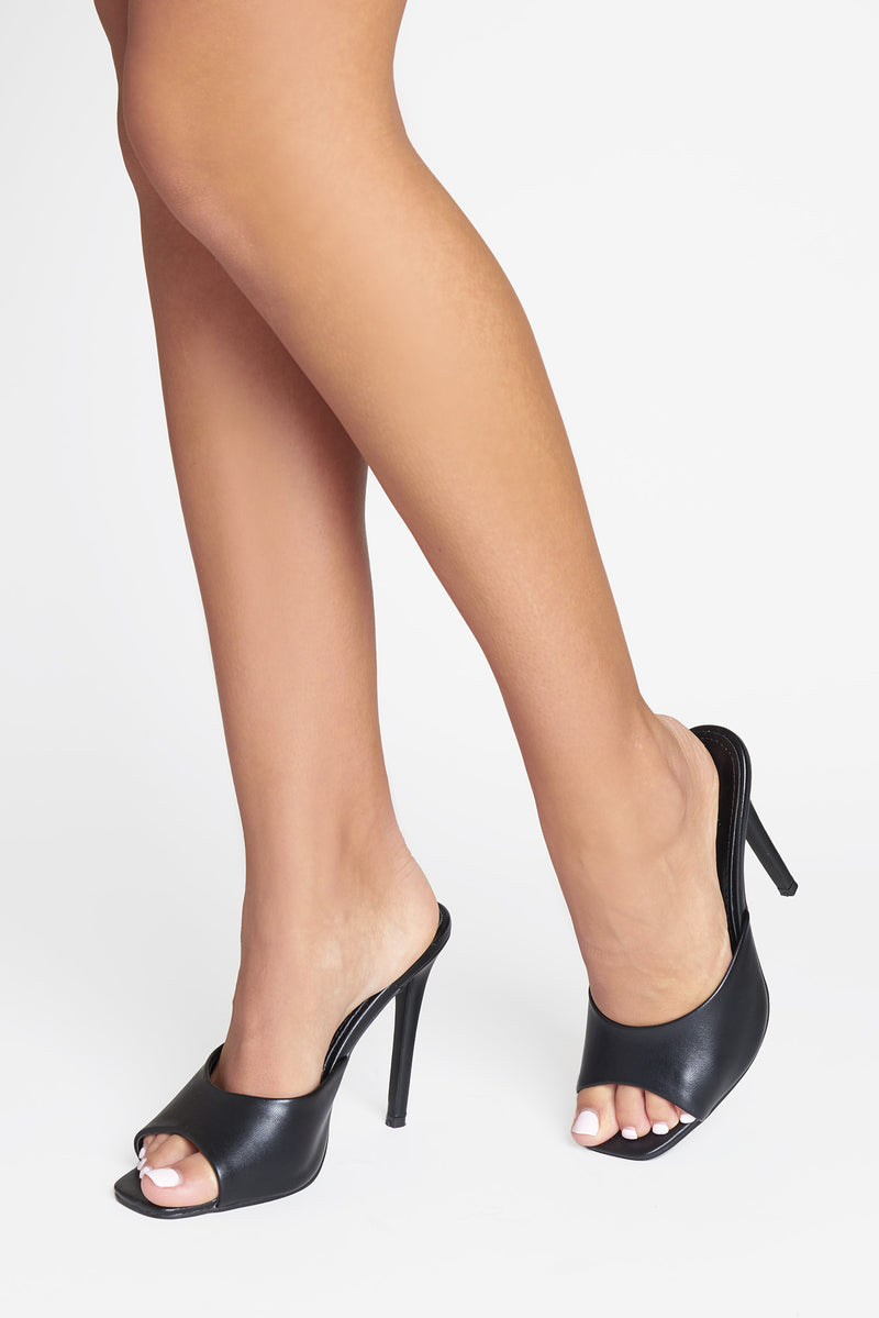 Lotti Square Peep Toe Mule In Black Vegan Leather