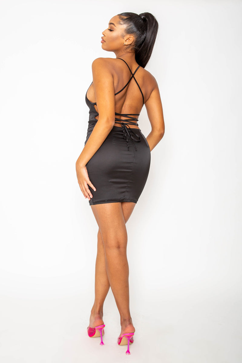 Black Satin Cowl Lace Up Mini Bodycon Dress