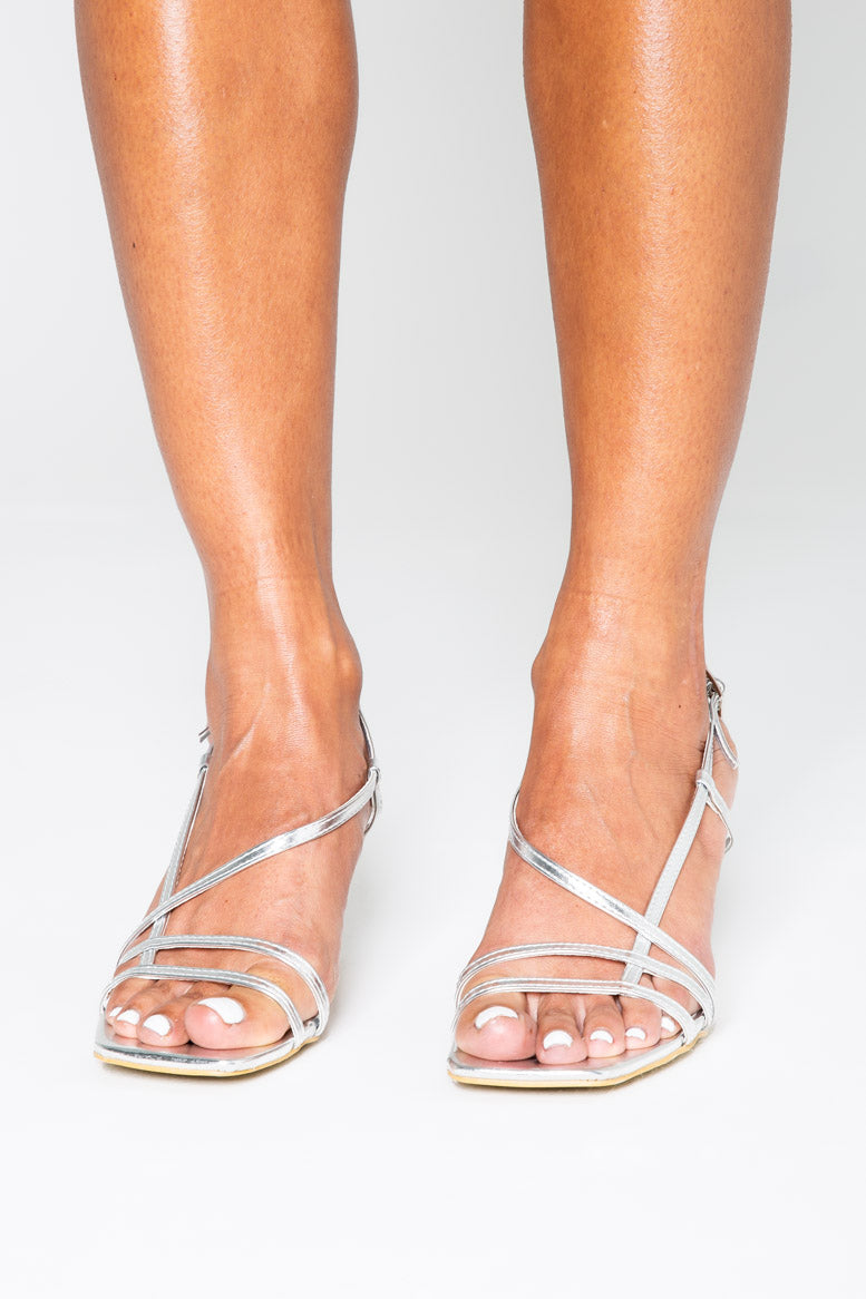 Mini Josephine Strappy Heels in Silver Vegan Leather
