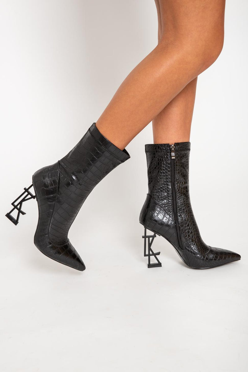 LTK Logo Ankle Boots in Black Croc Vegan Leather