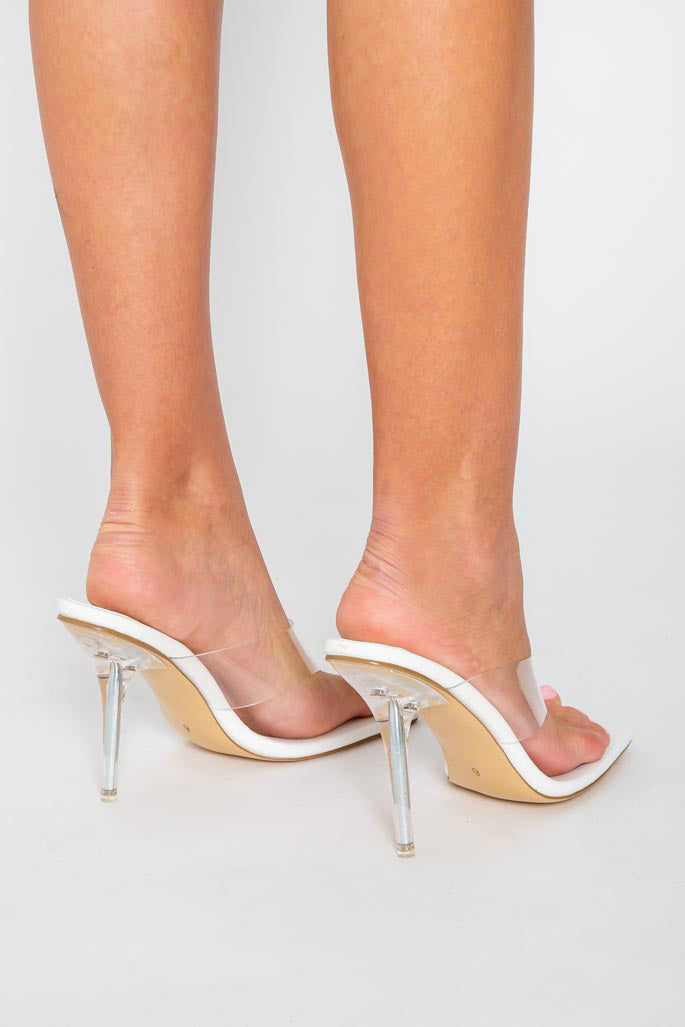 Saint Perspex Heels in White Matte Vegan Leather