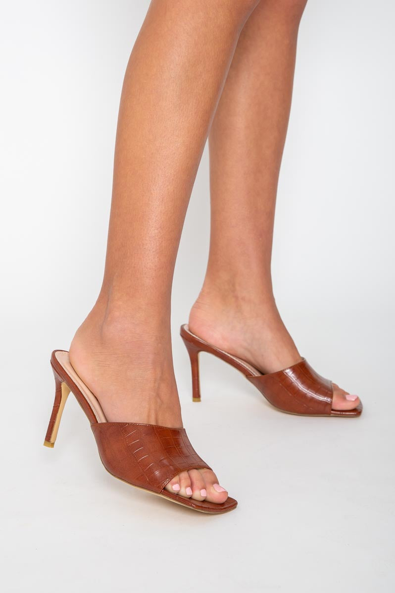Vanessa Square Toe Mules in Tan Croc Vegan Leather