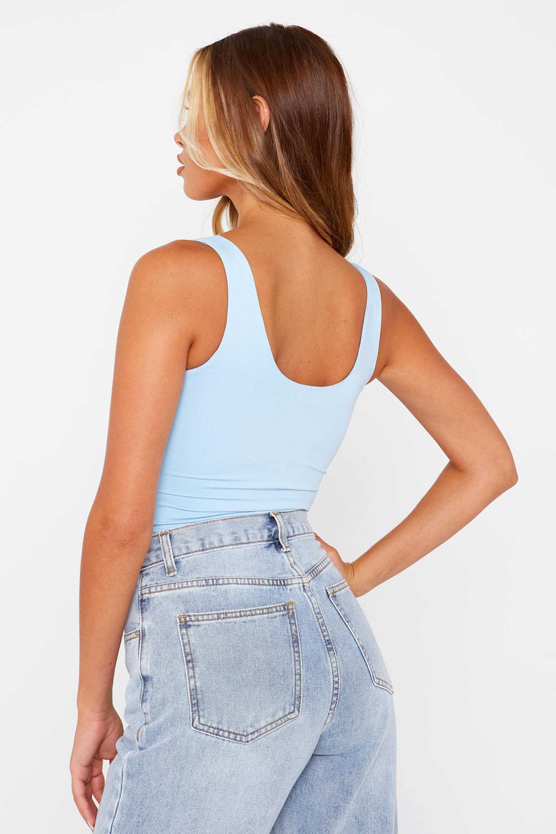 Blue  Slinky Scoop Neck Bodysuit