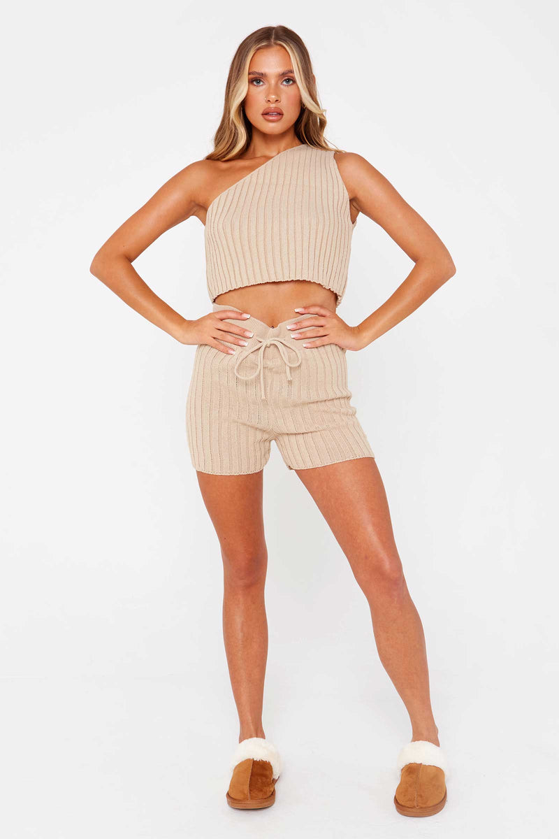 Beige One Shoulder Knitted Lounge Set