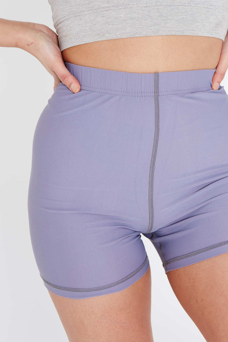 Grey Lycra High Waisted Shorts