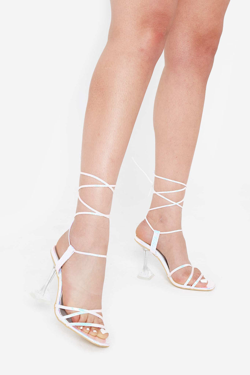 Audrey Lace Up Heels in Pink Snake Iridescent Vegan Leather
