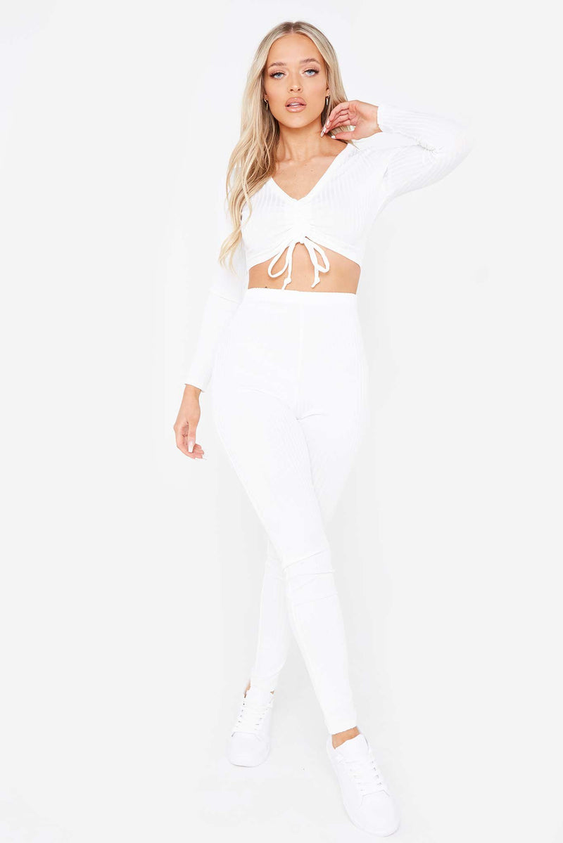 White Ruched Crop Top & Ribbed Legging Co-ord