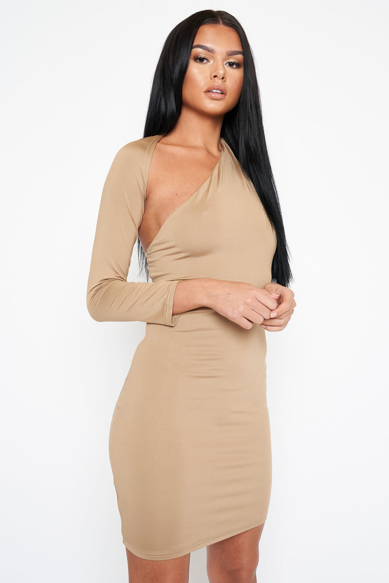 Beige Long Sleeved Wrap Detail Dress