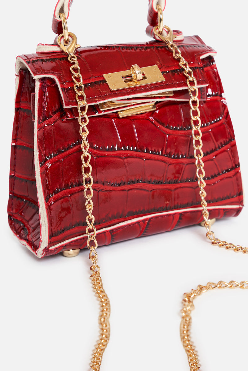 Deep Red Vegan Croc Leather Mini Bag