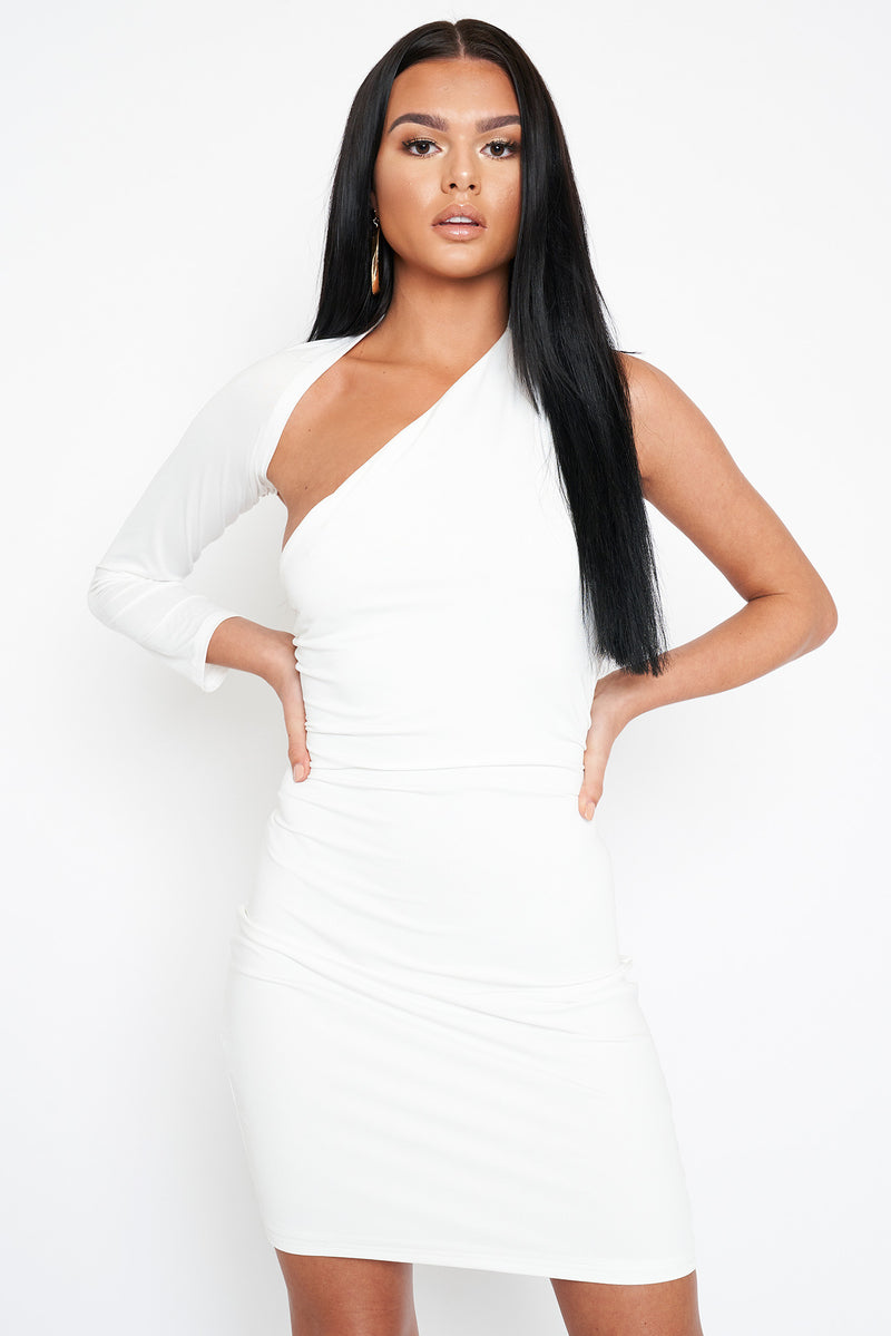 White Long Sleeved Open Detail Dress