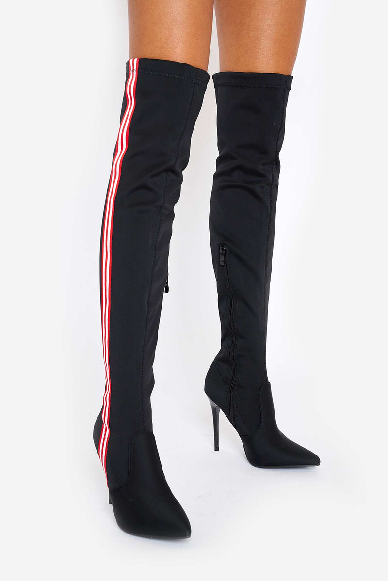 Rocky Striped Over The Knee Boots in Black Lycra