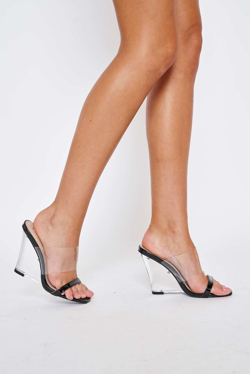 Louisa Perspex Wedges In Black Vegan Leather