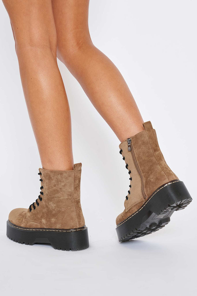 Martha Chunky Platform Boots in Tan Vegan Suede