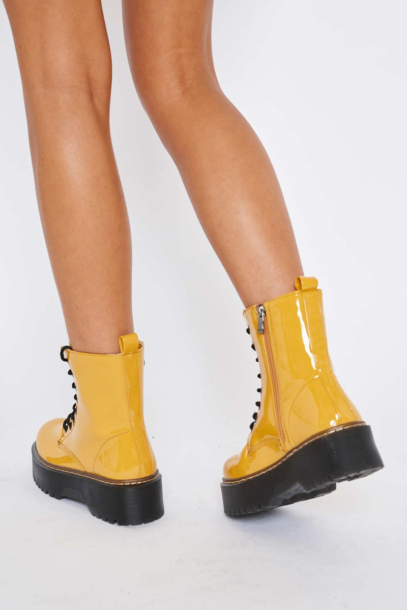 Martha Chunky Platform Boots in Yellow Vegan Patent Leather