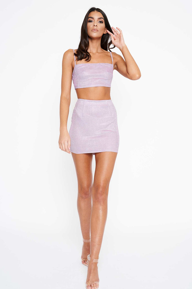 Iridescent Glitter Crop Co-Ord