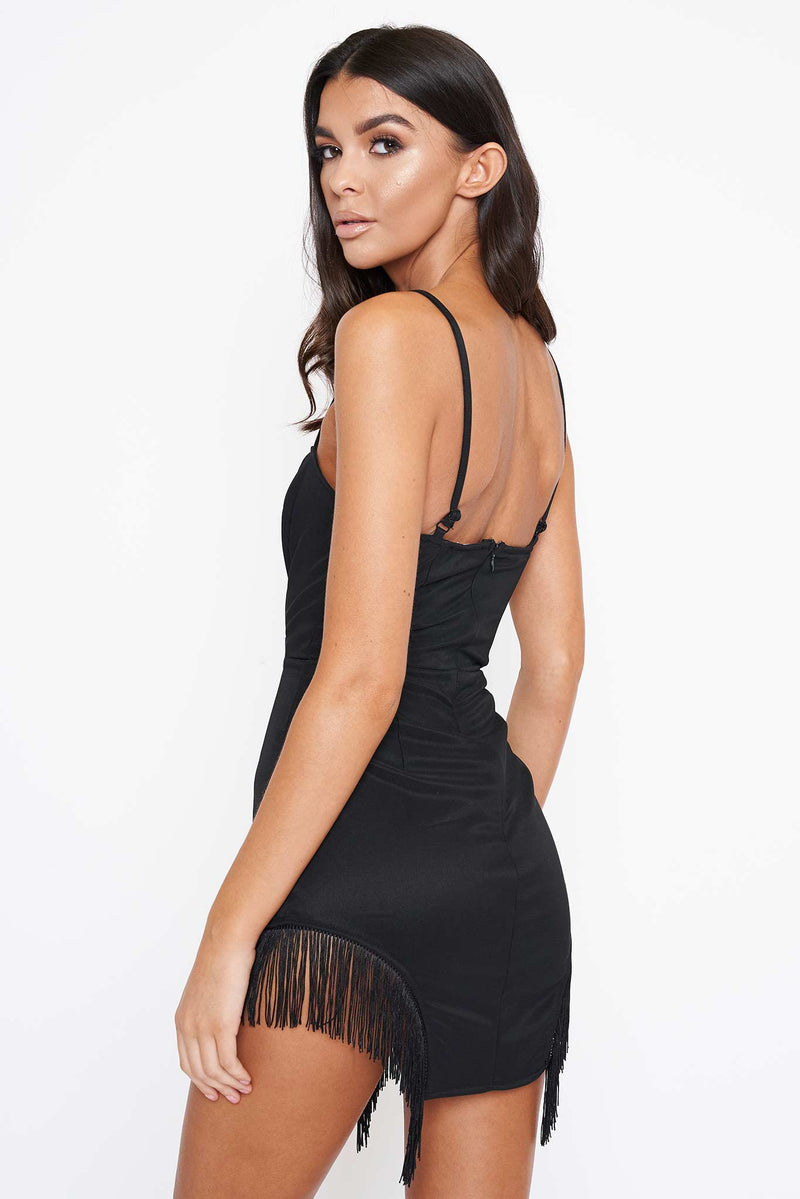 Black Fringe Detail Mini Dress