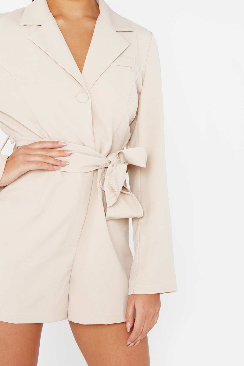 Beige Long-Sleeve Tie Waist Blazer Dress