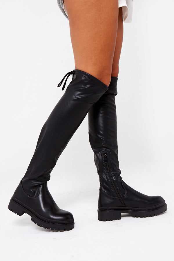 Ebony Chunky Sole Knee High Boots in Black Vegan Leather