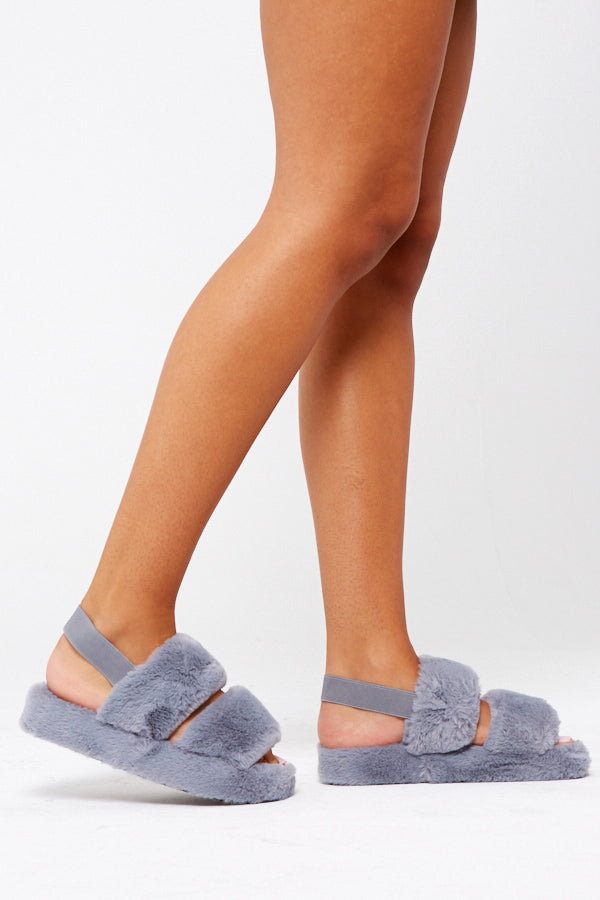 Fluffy Strap Slippers In Grey Vegan Fur