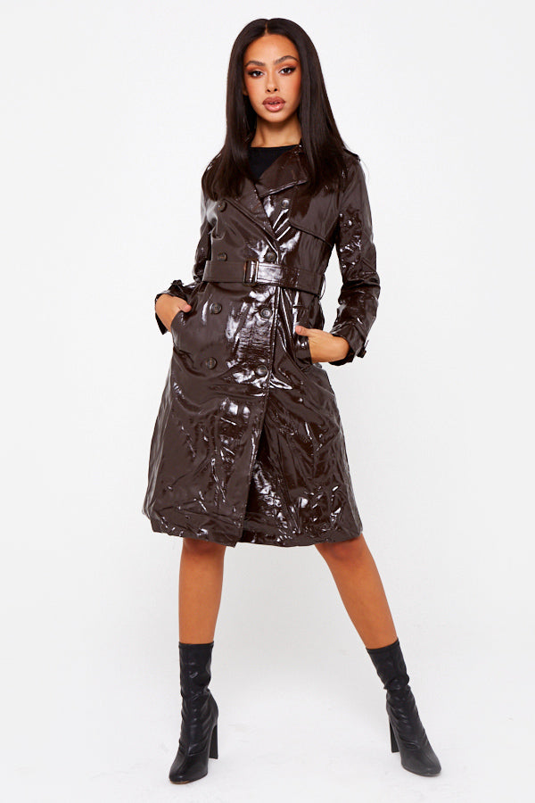 Brown Vinyl Trench Coat