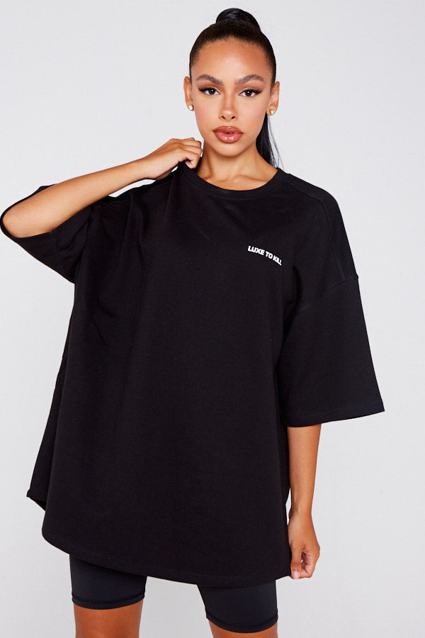 """Luxe To Kill"" Oversized Black T-Shirt"