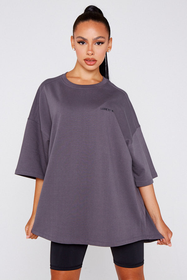 """Luxe To Kill"" Oversized Charcoal Grey T-Shirt"