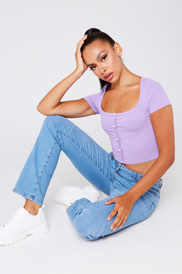 Lilac Square Neck Button Front Top