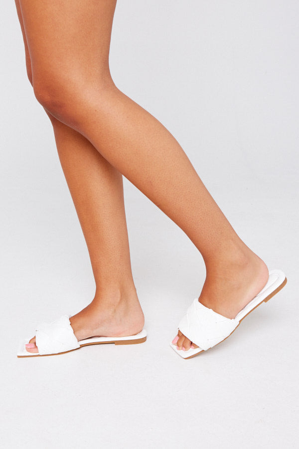 Ria Woven Sliders in White Vegan Leather