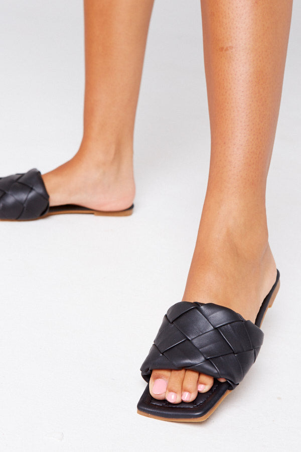 Ria Woven Sliders in Black Vegan Leather