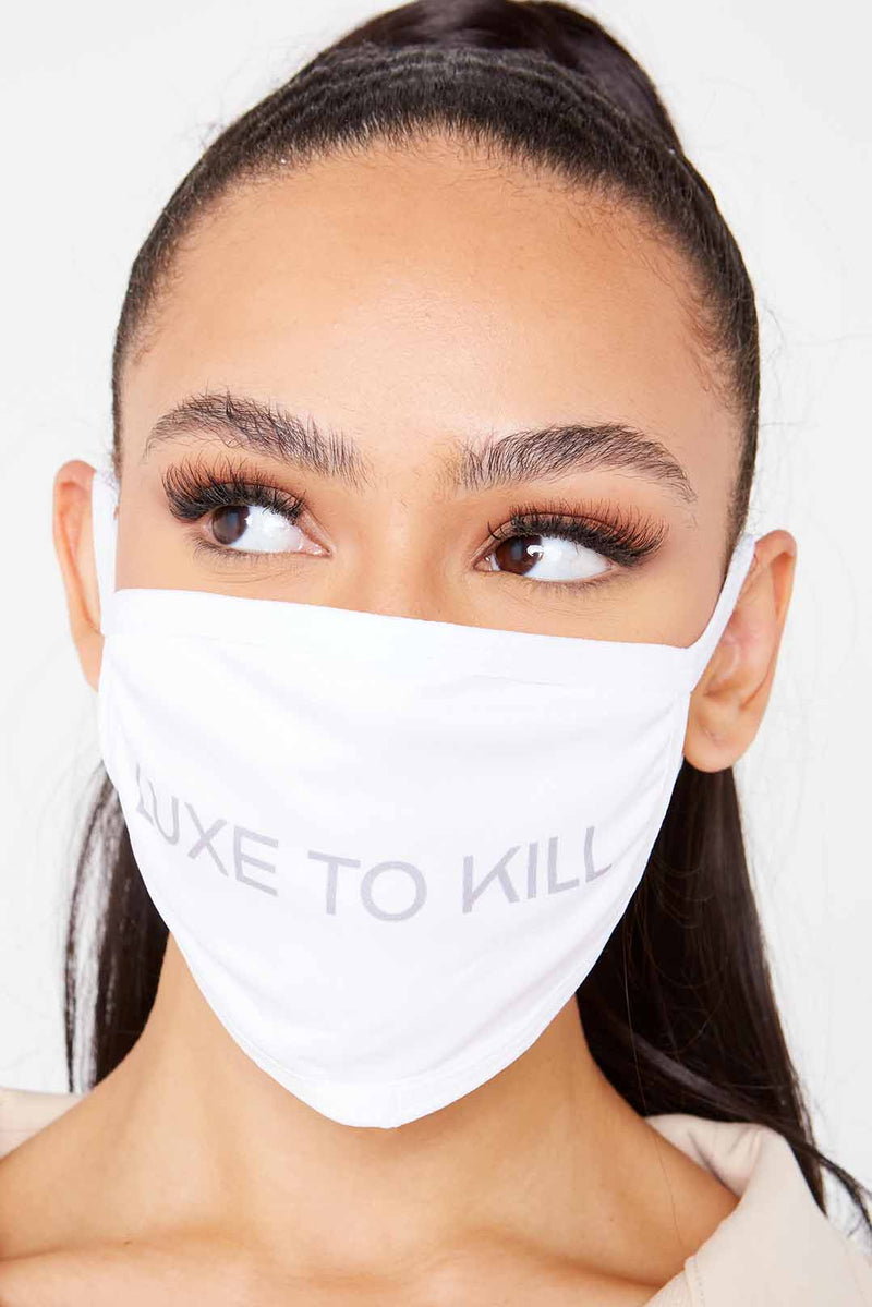 "White ""Luxe To Kill"" Face Mask"