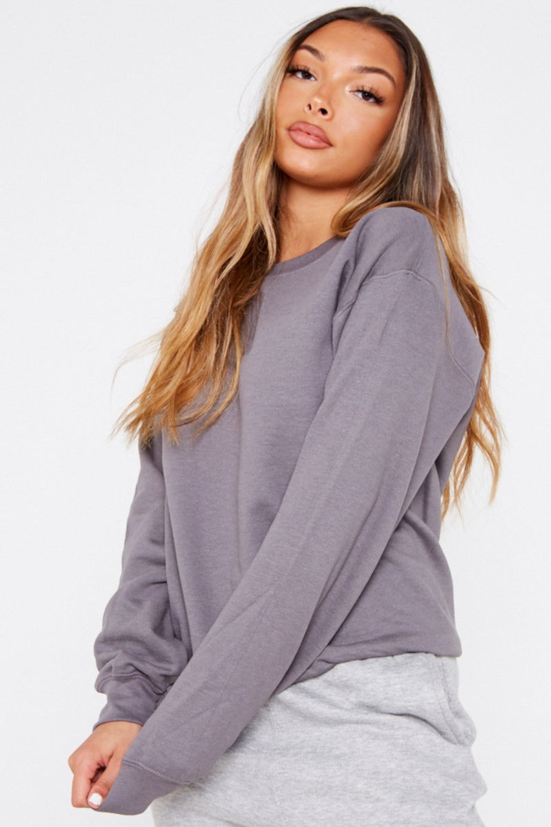Charcoal Grey Crew Neck Sweater