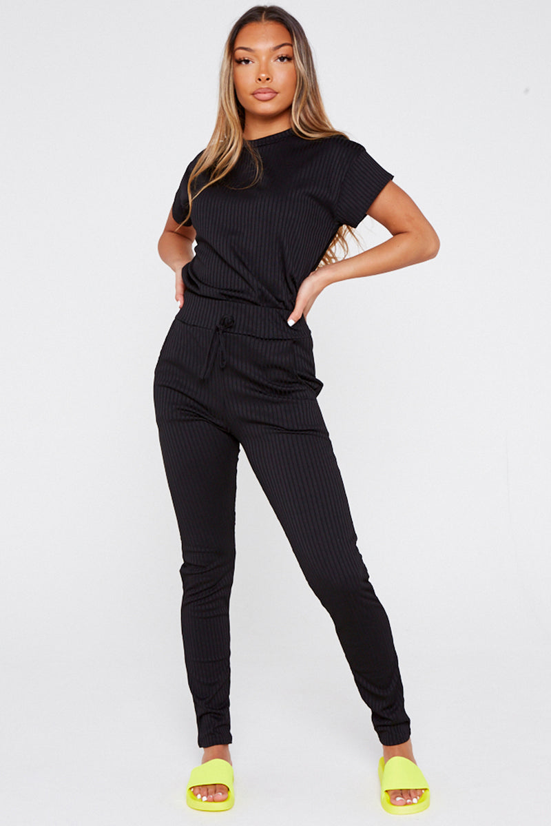Black Ribbed T-Shirt & Legging Co-ord