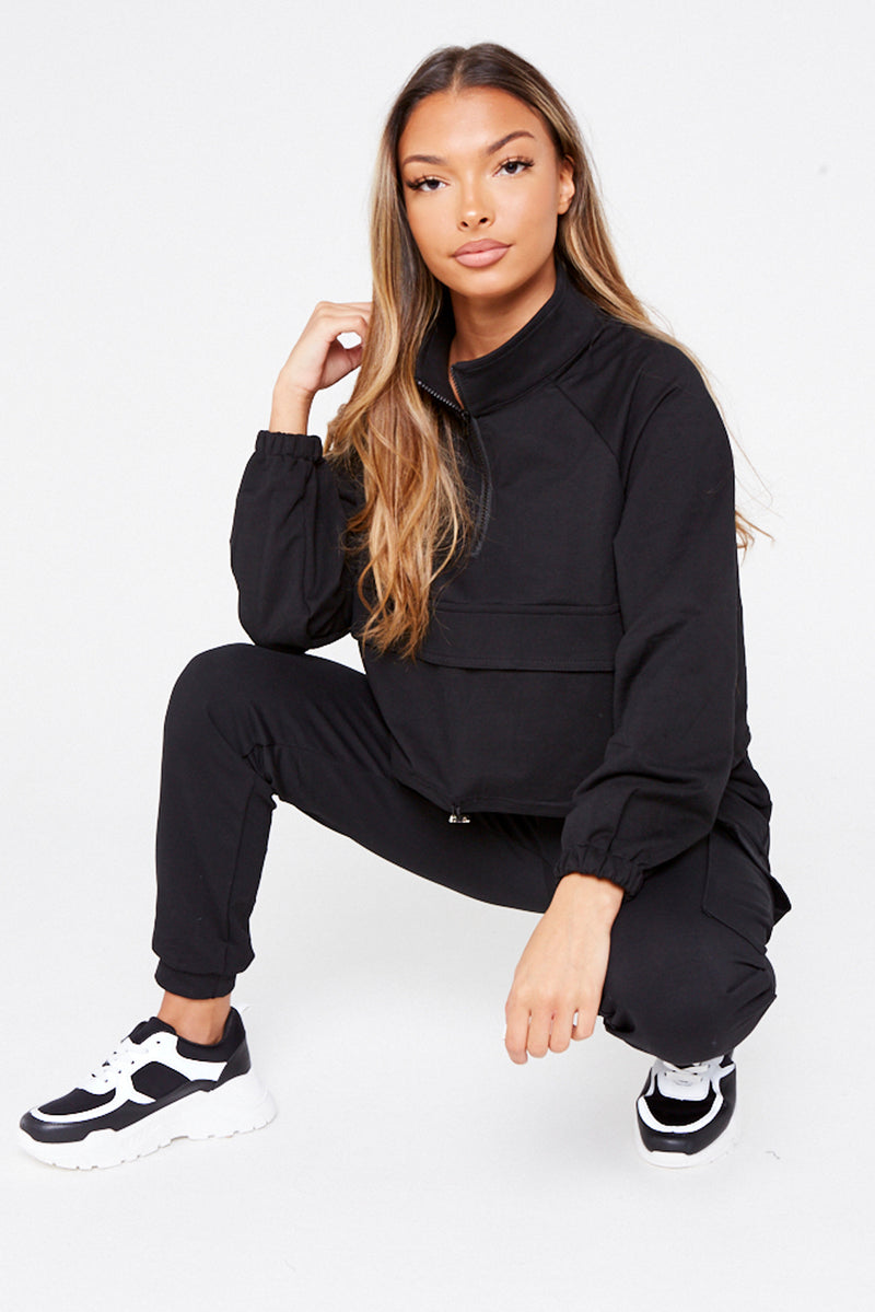 Black High Neck Zip Up Set