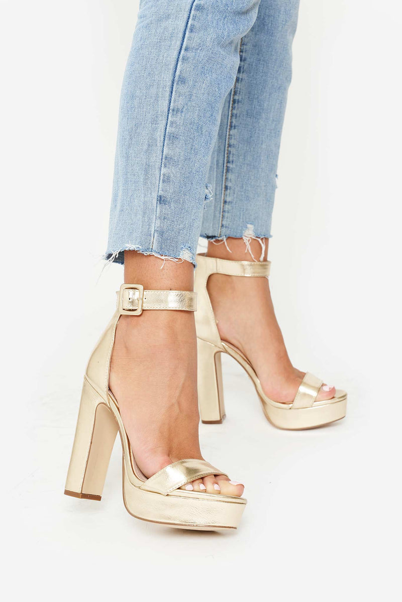 Taya Platform Buckle Heels in Gold Vegan Leather