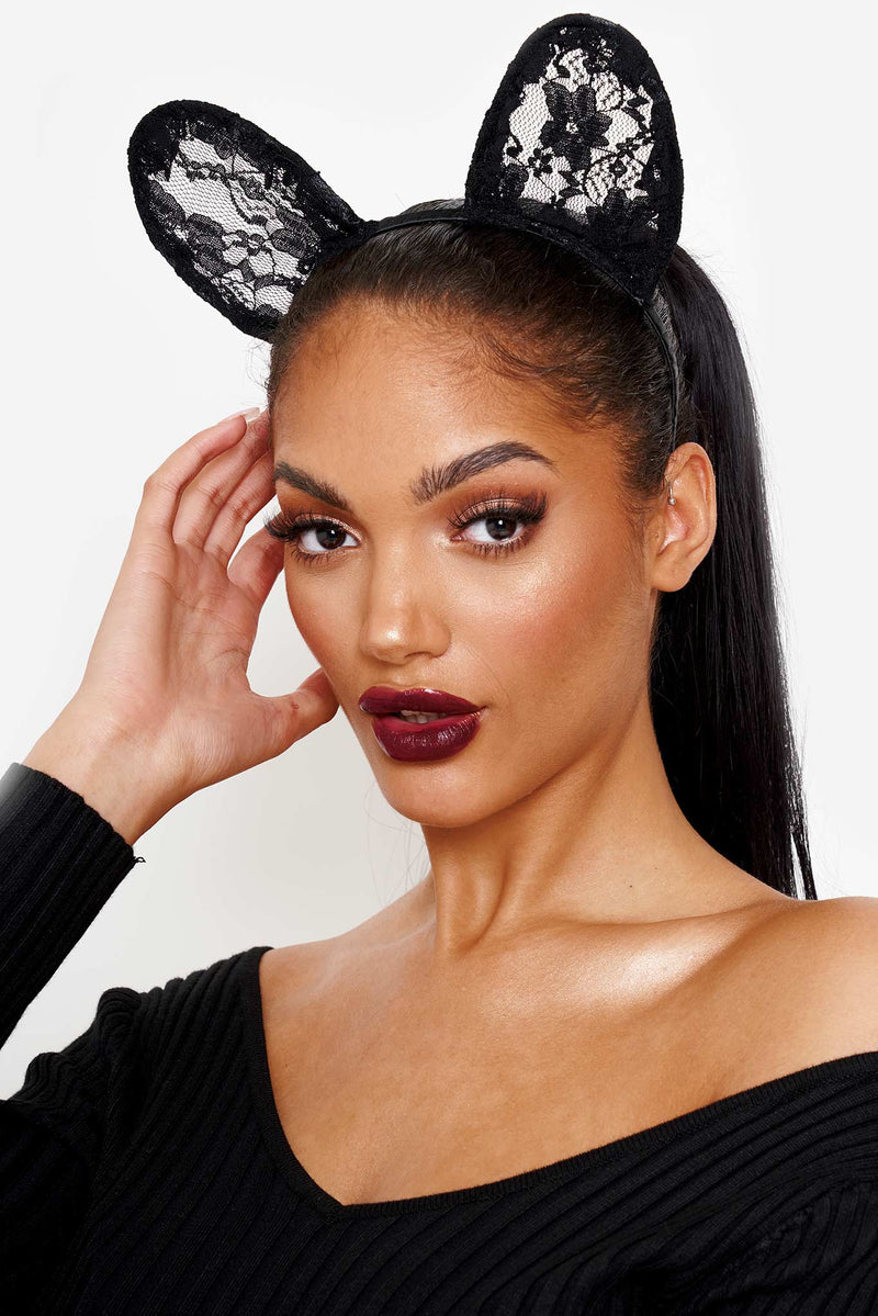 Black Lace Bunny Ear Head Band