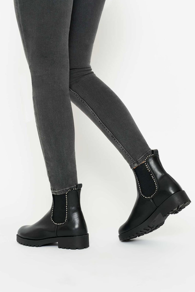 Leanna Chunky Ankle Boots in Black Vegan Leather