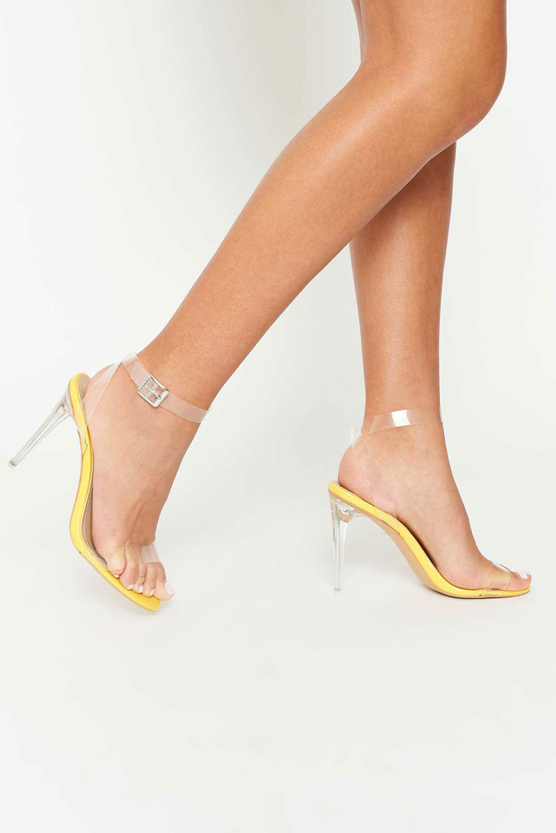 Khloe Yellow Sandal with Clear Perspex Strap